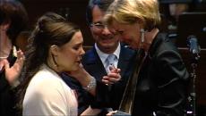 Liz Mohn und Gerard Mortier bei der Siegerehrung von María Virginia Savastano